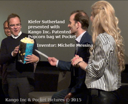 Kiefer Sutherland Kango Inc Patented Popcorn Bag inventor: MIchelle Messina